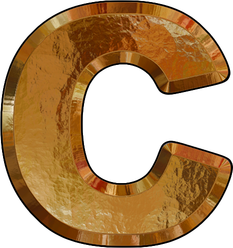 Presentation Alphabets: Gold Leaf Letter C