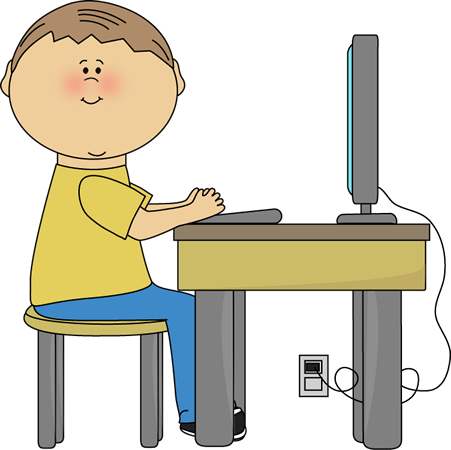 Student Using Computer Clip Art - Student Using Computer Vector Image