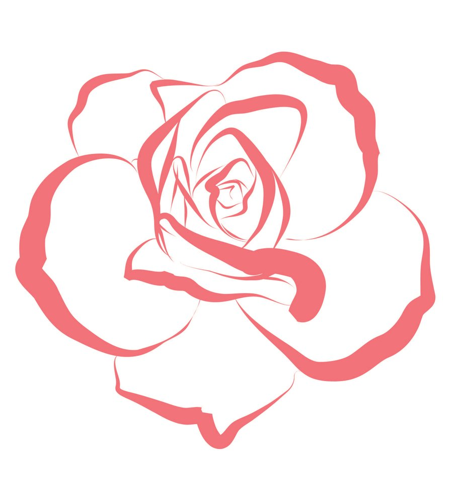Line Drawing Of Rose Flower : Hoontoidly simple pink rose drawing images