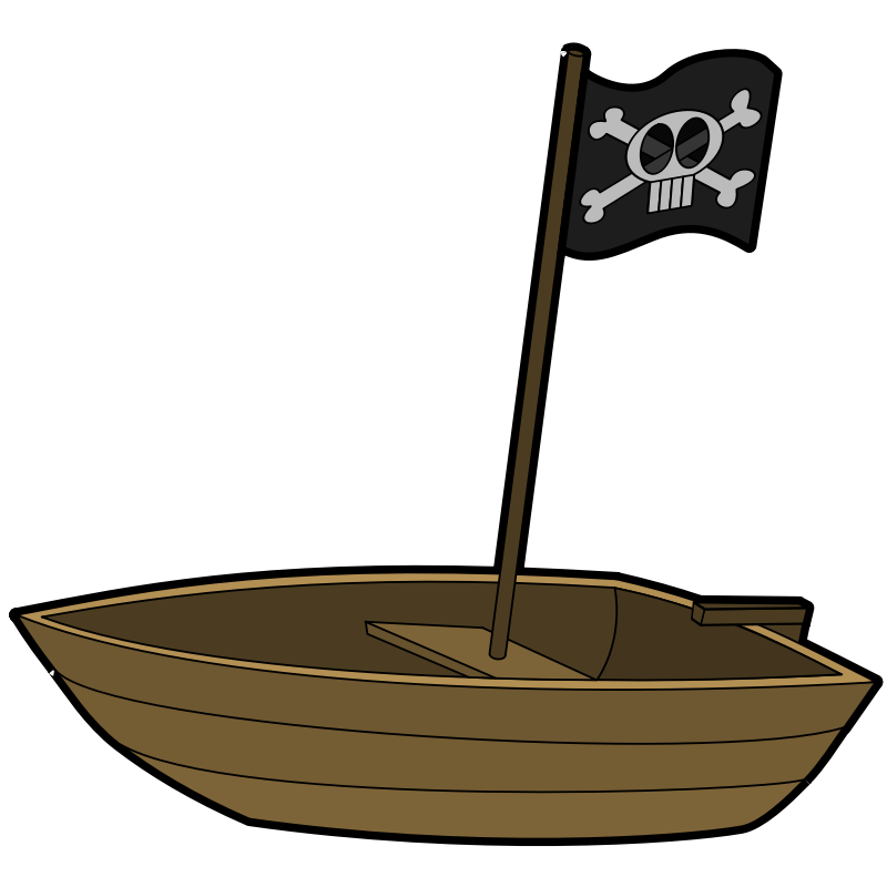 Clipart - Pirate Boat with Pirate Flag