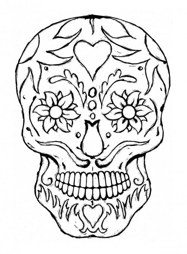 Mexican death skulls coloring pages