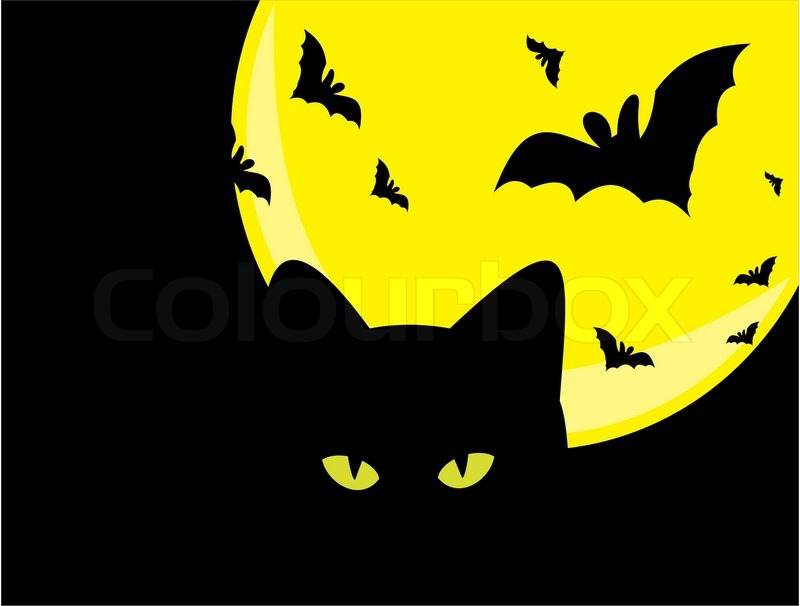 Spooky Halloween Background With Witch Silhouette And Scary Pump ...