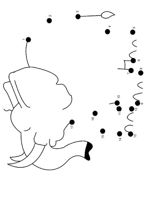 Free Online Printable Kids Games - Elephant Dot To Dot