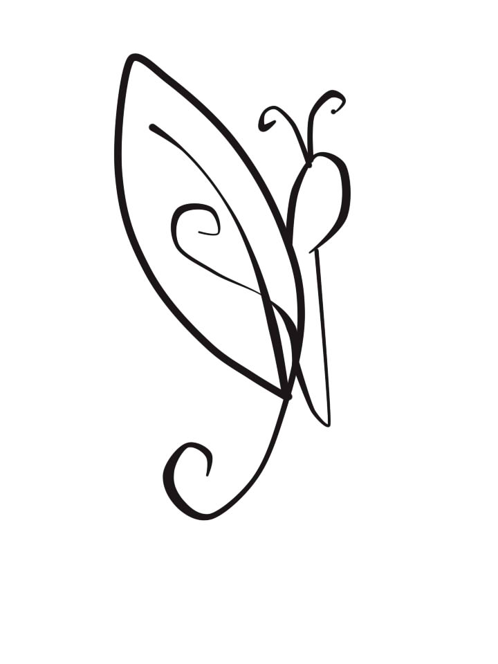 Line Drawing Photos : Butterfly line art cliparts