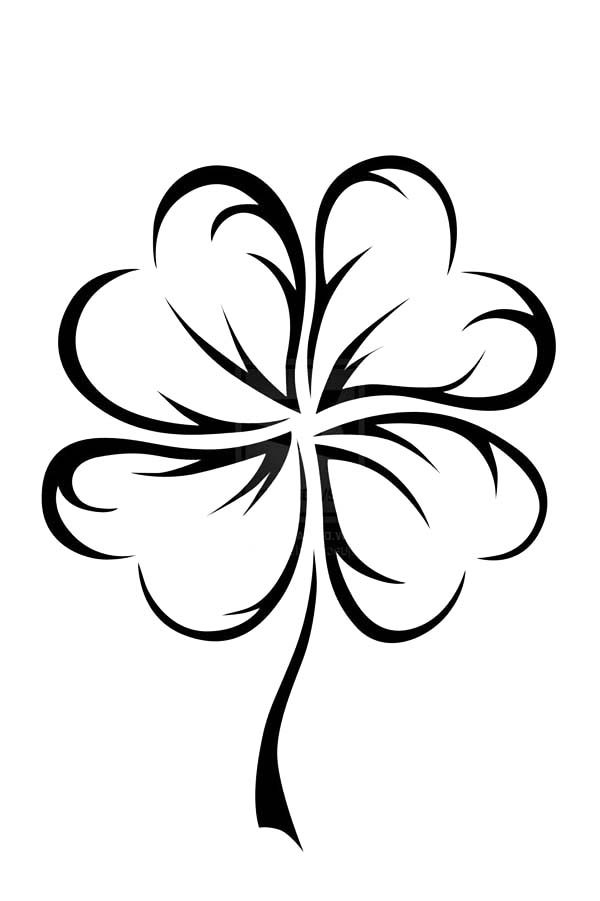 An Art Graphic of Four-Leaf Clover Coloring Page - NetArt