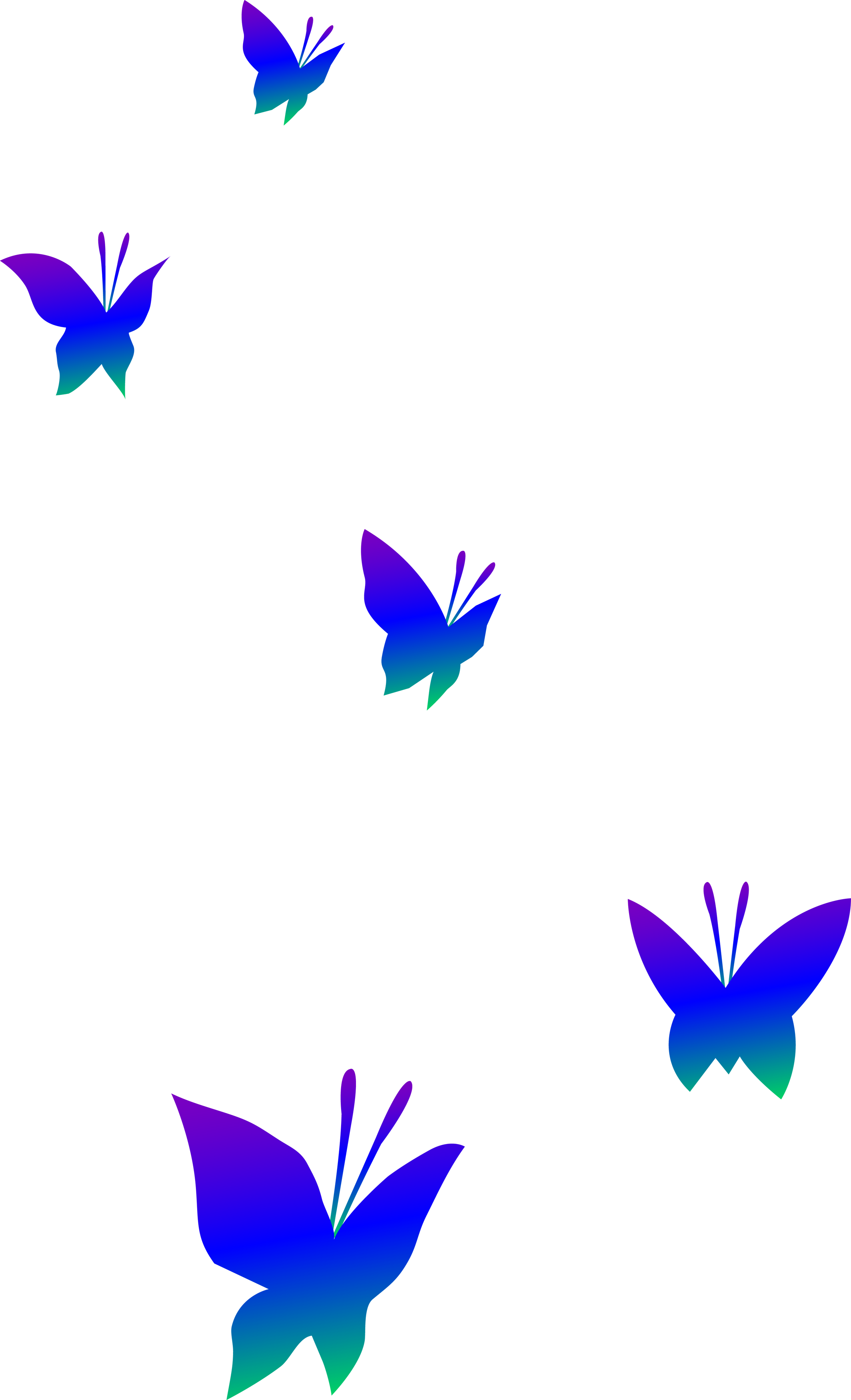 Purple Blue and Green Butterflies - Free Clip Art