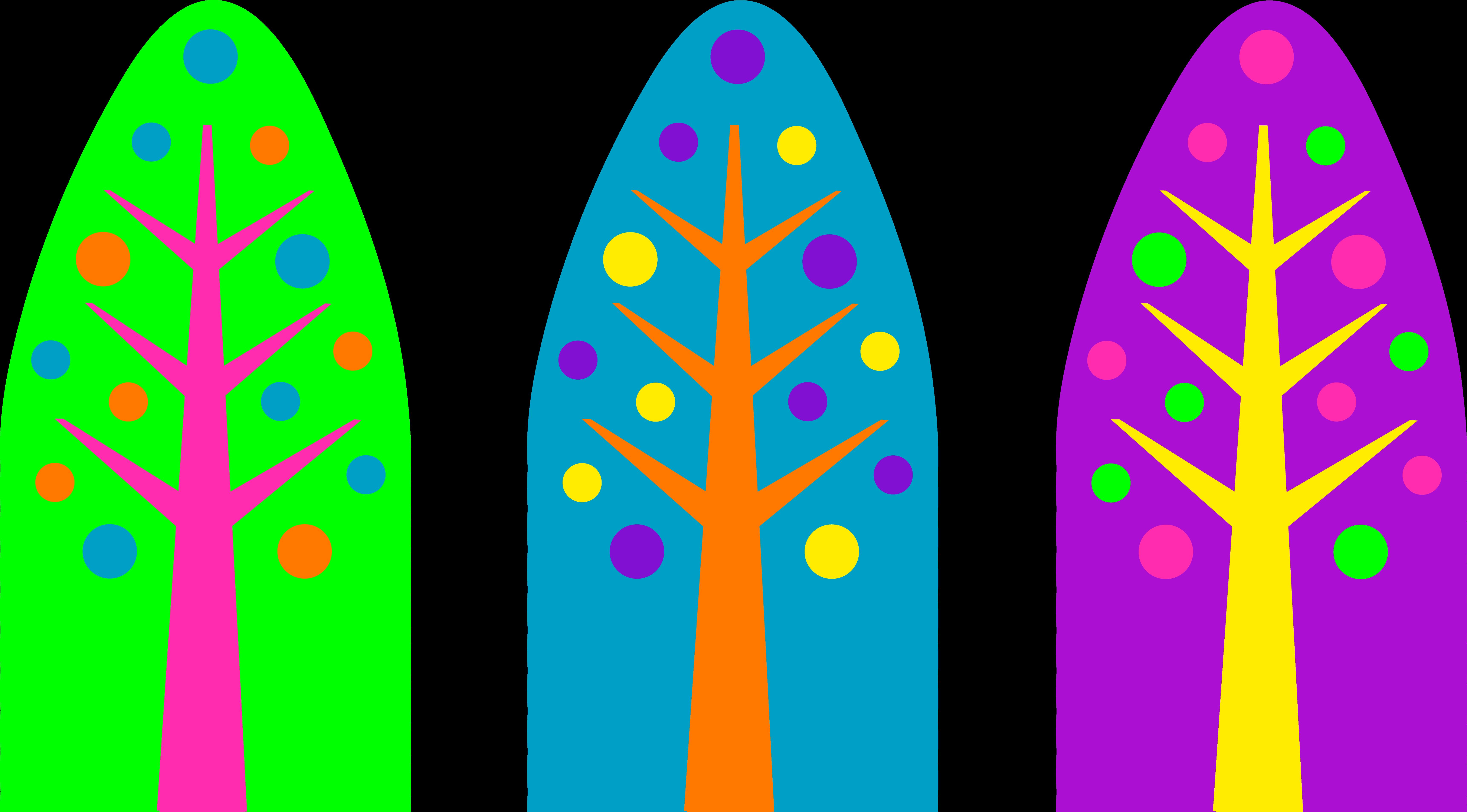 Unique Neon Colored Christmas Trees - Free Clip Art