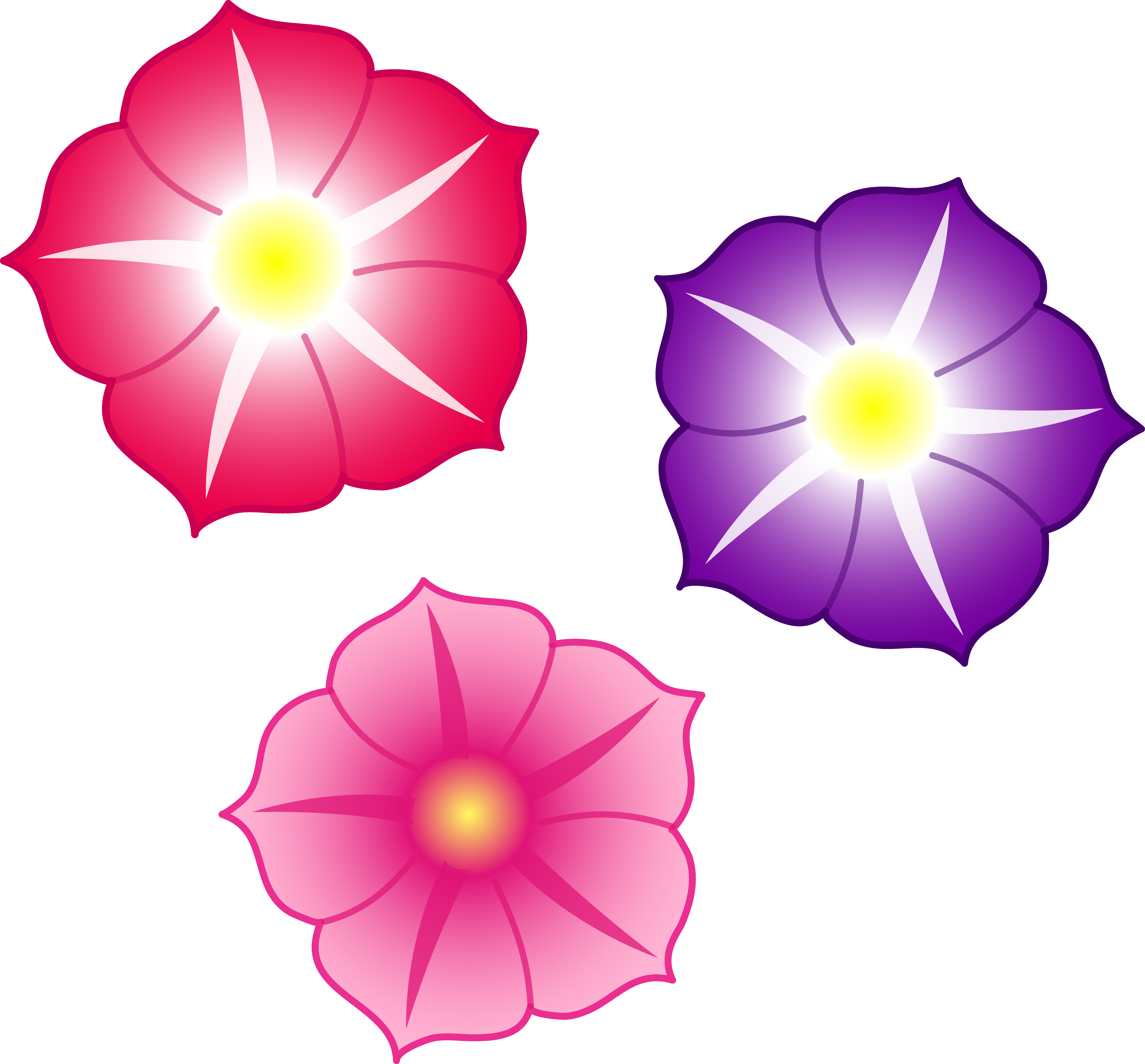 Pink Flowers Cartoon Cliparts
