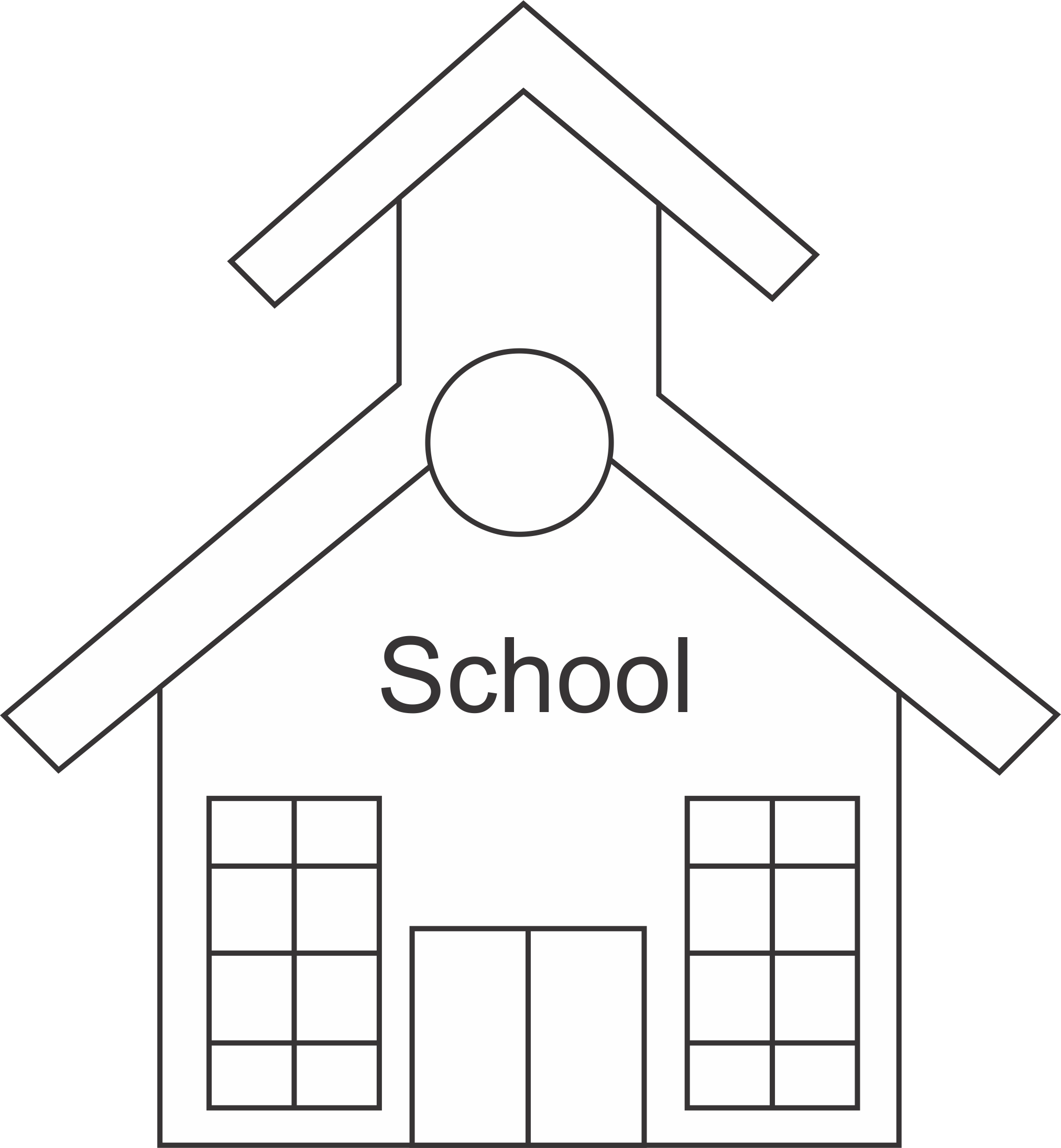 free black and white school house clipart - photo #10
