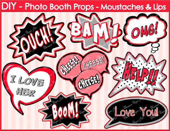 Speech Bubbles Printable Photo Booth Props DIY by blossompaperart