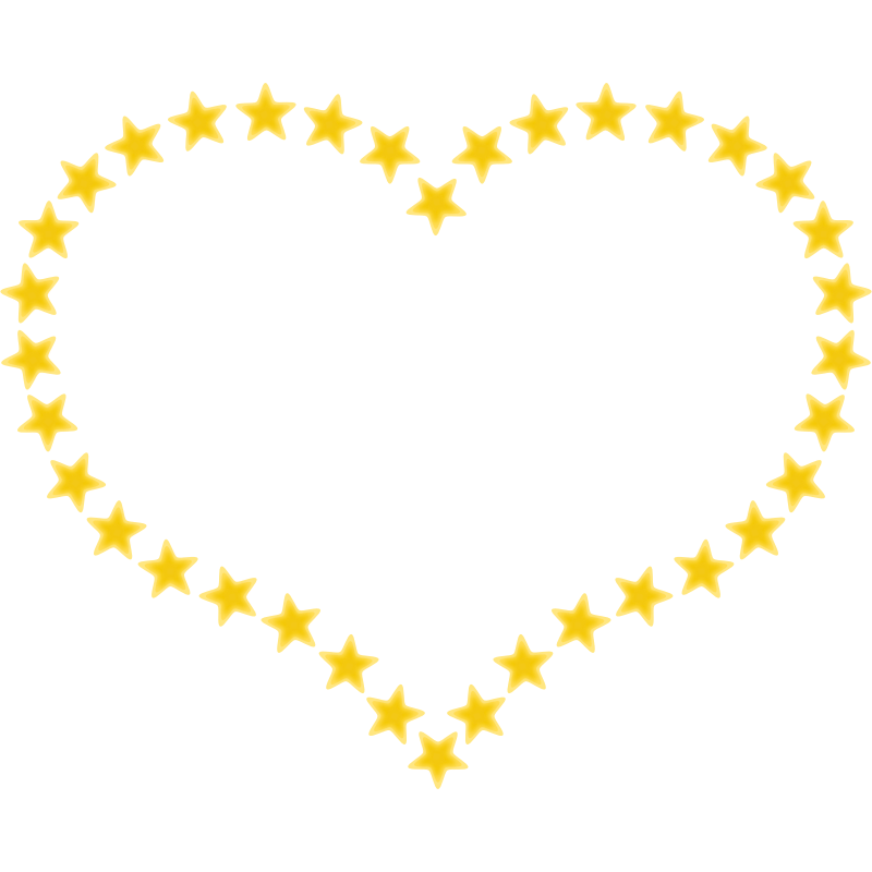 Clipart - Heart Shaped Border with Yellow Stars
