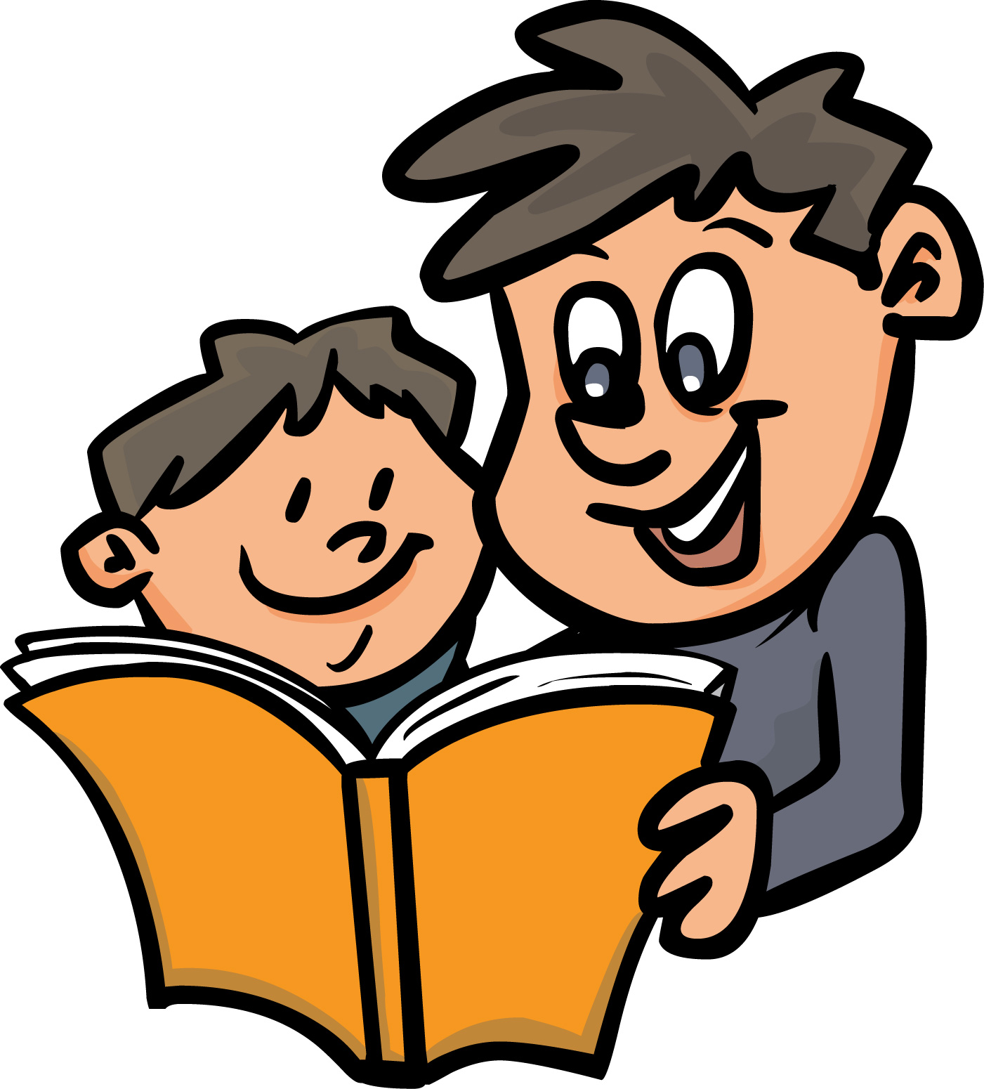 parents children reading clip art