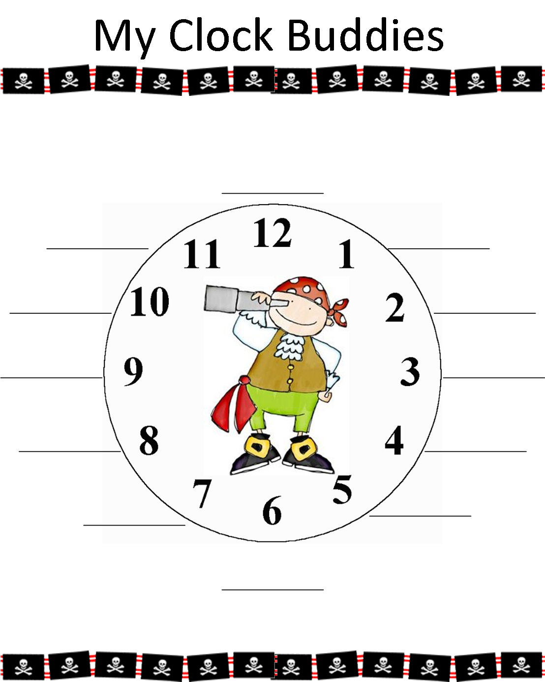 Free Clock Buddies Template Printable - Cliparts.co