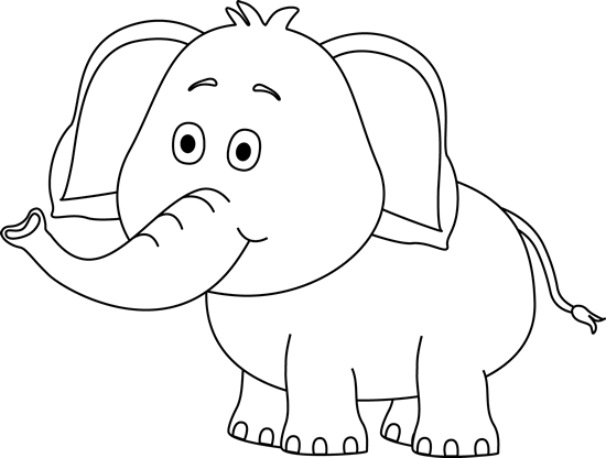 Black and White Cute Elephant Clip Art - Black and White Cute ...