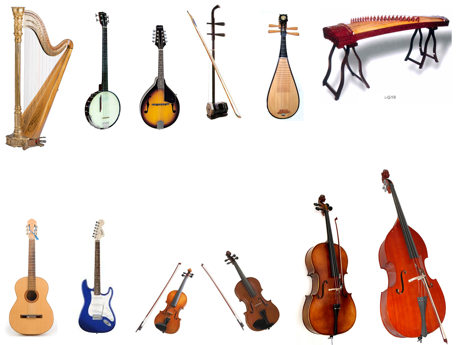 musical instruments The five types of musical instruments are aerophones, idiophones, membranophones, chordophones and electronic instruments aerophones produce music through the vibration of air idiophones are instruments made of material that naturally create sounds membranophones make music through the vibration.