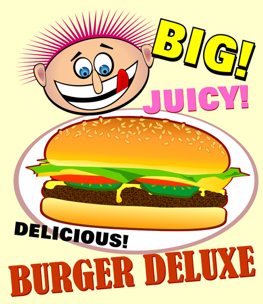 Hamburger Deluxe - Free Clip Art Image