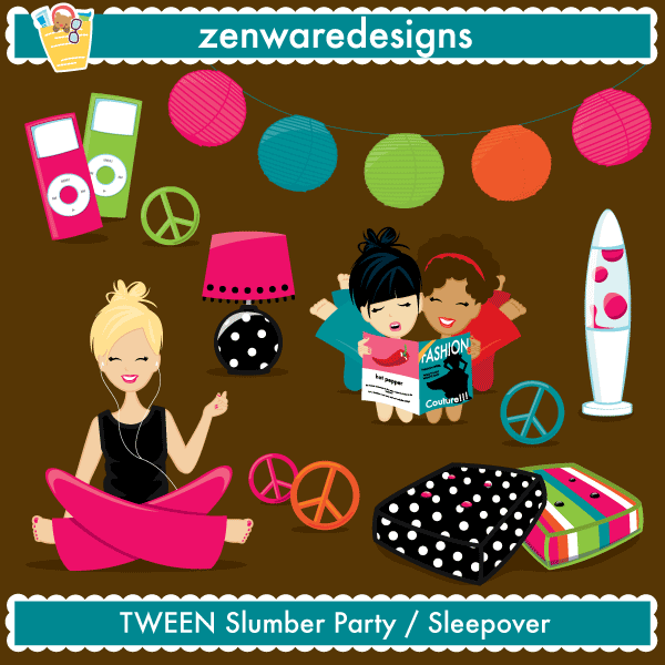Slumber Party / Sleepover Stamps - Mygrafico.com