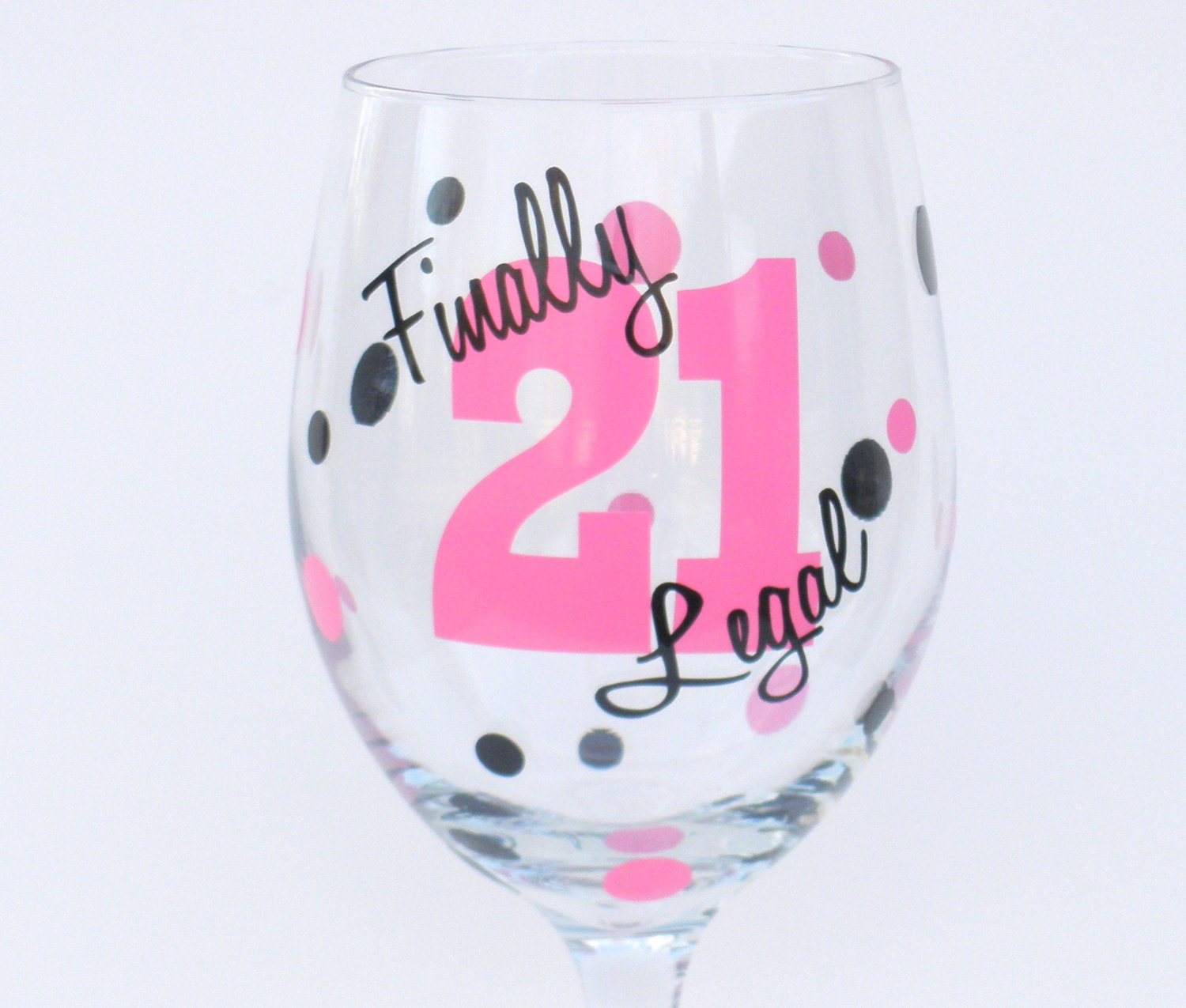 Personalized 21st Birthday Wine Glass Finally By RayneEDayCrafts