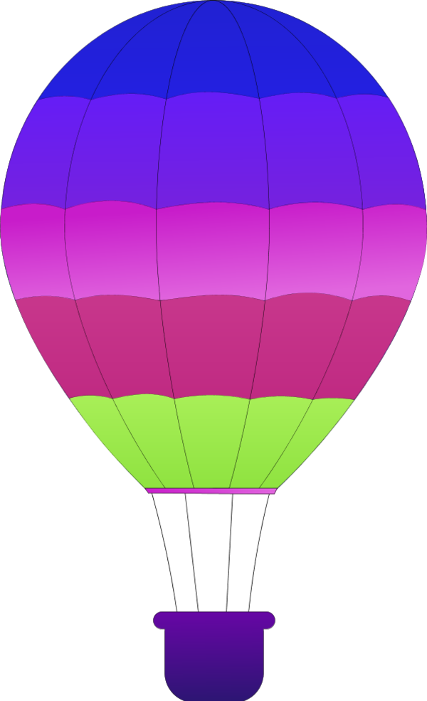 Horizontal Striped Hot Air Balloons - vector Clip Art