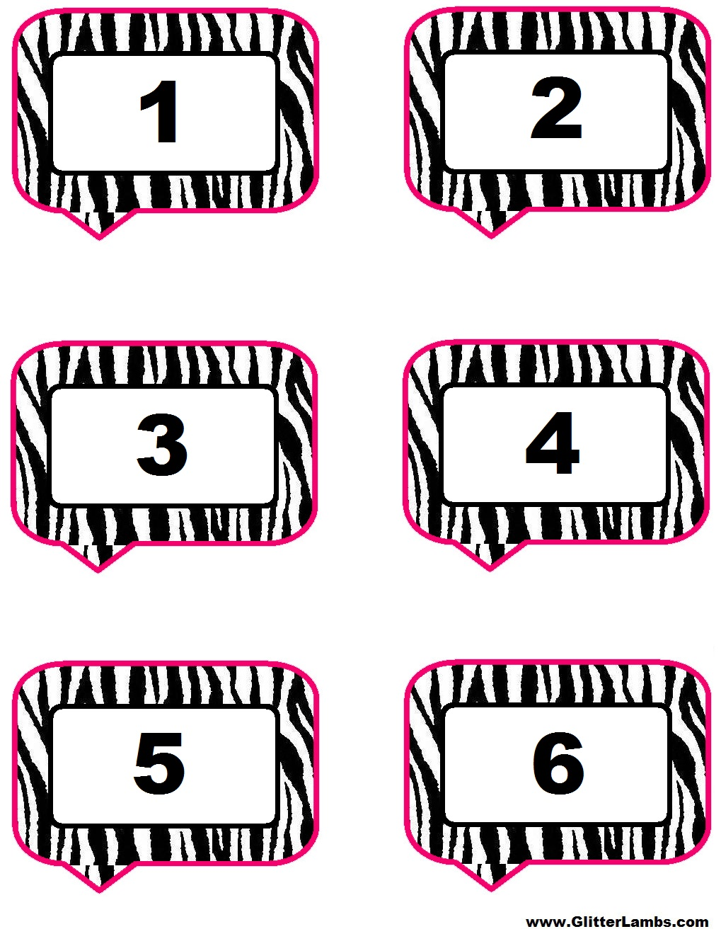 Glitter Lambs: Pink Zebra Food Label Cards And Free Printable ...