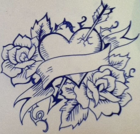 Pencil Sketches Of Hearts And Roses - Cliparts.co