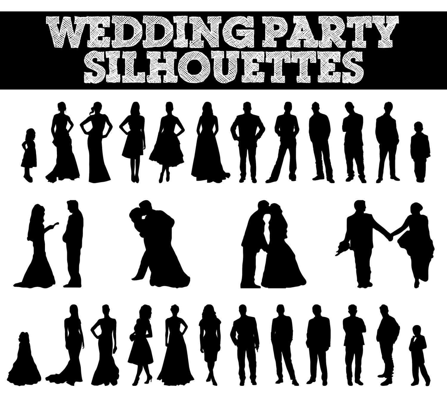 Showing Pic Gallery For Wedding Party Silhouette Clip Art ...