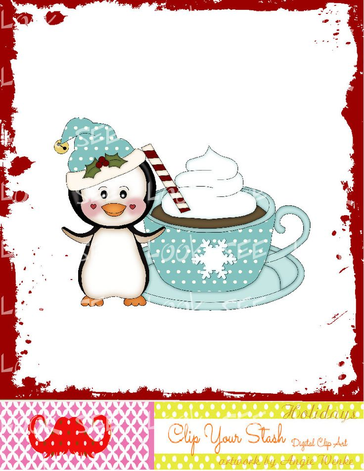 x4-156 PENGUIN CHRISTMAS hot cocoa snowflake cup peppermint blue coun…