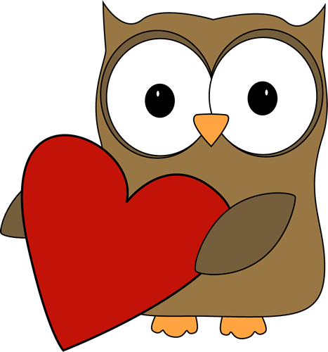 Owl with a Big Valentine Heart Clip Art - Owl with a Big Valentine ...