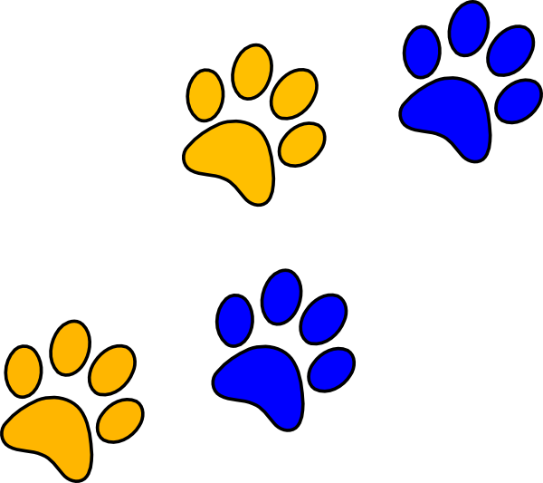 Blue/gold Paw Print clip art - vector clip art online, royalty ...