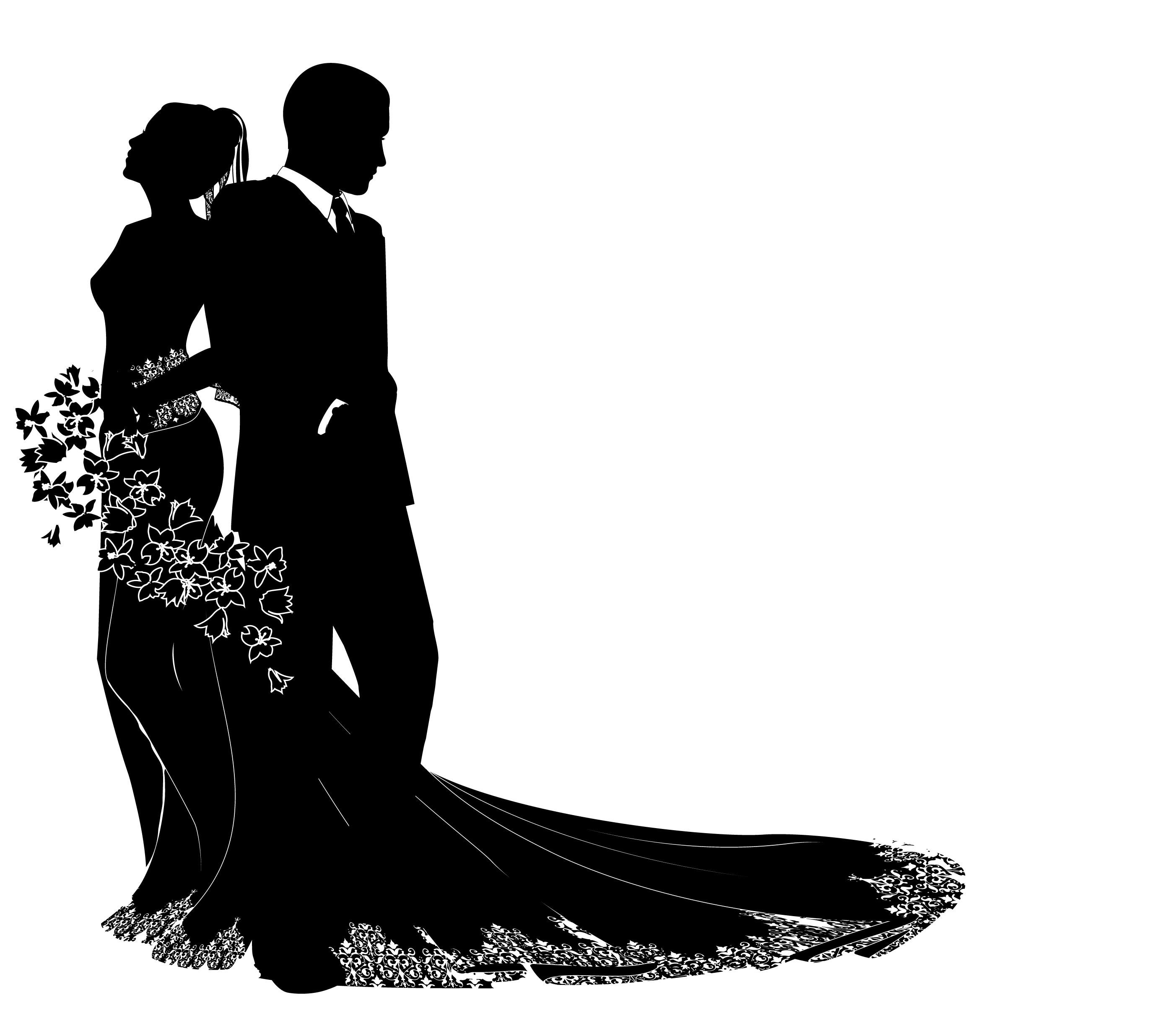 free wedding silhouette clip art - photo #29