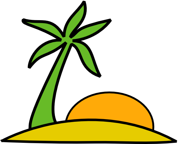 Island, Palm, And The Sun clip art - vector clip art online ...