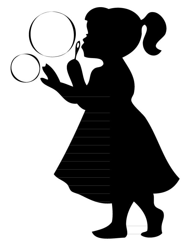 Girl Blowing Bubbles Silhouette [kid853] - $12.00 ...
