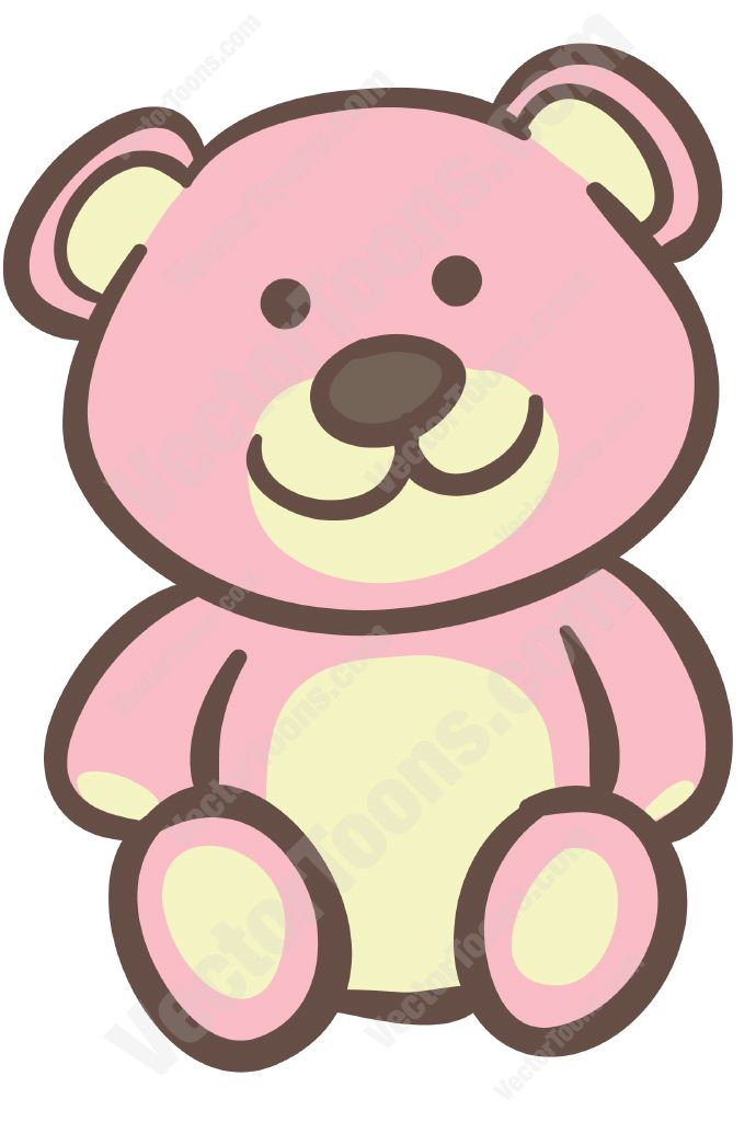 Pink teddy bear | Stock Cartoon Graphics | Vector Toons