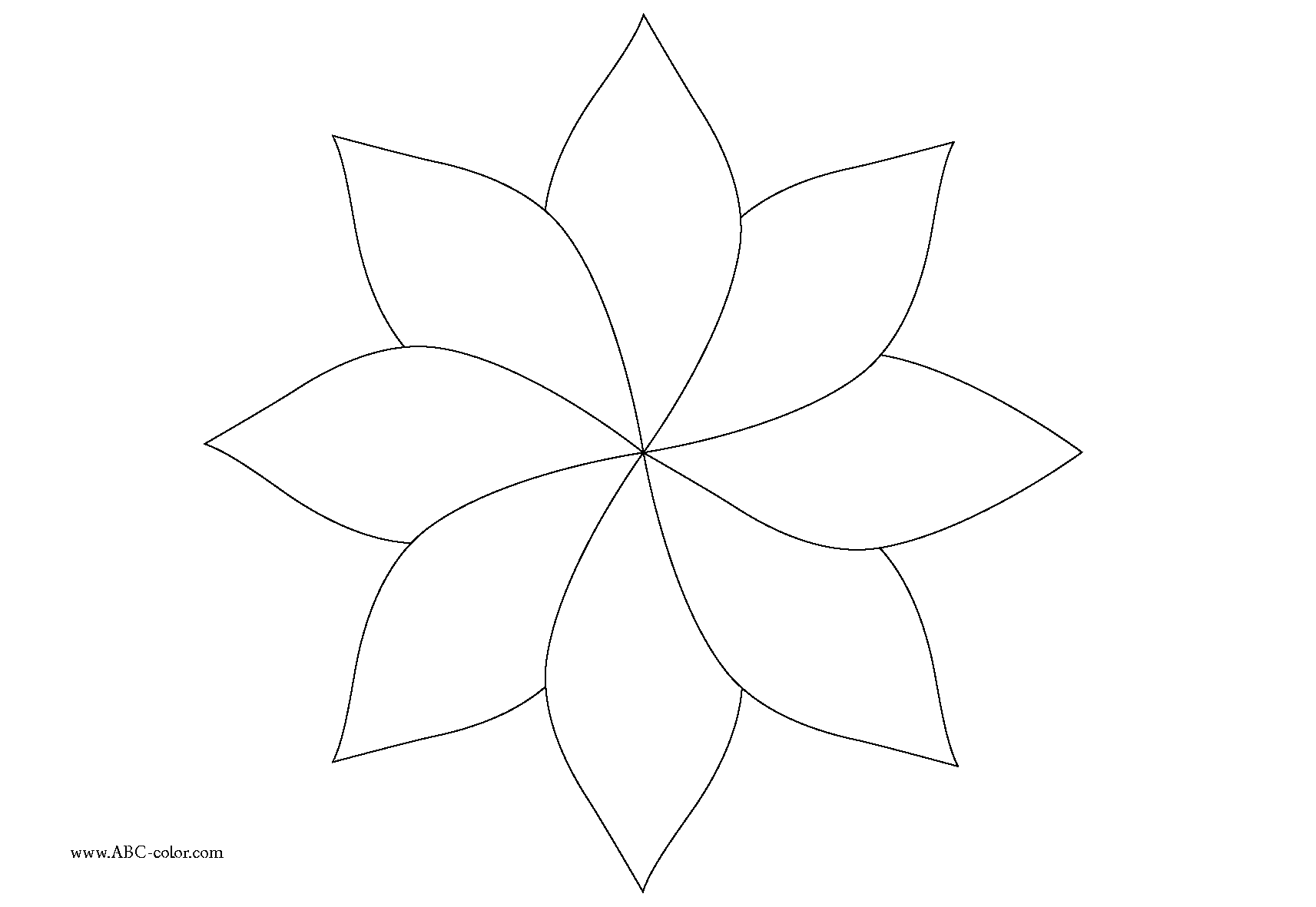 Flower Line Drawing Templates : Eight petal flower template cliparts