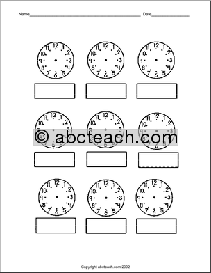 Number Names Worksheets : clock face to print ~ Free Printable ...