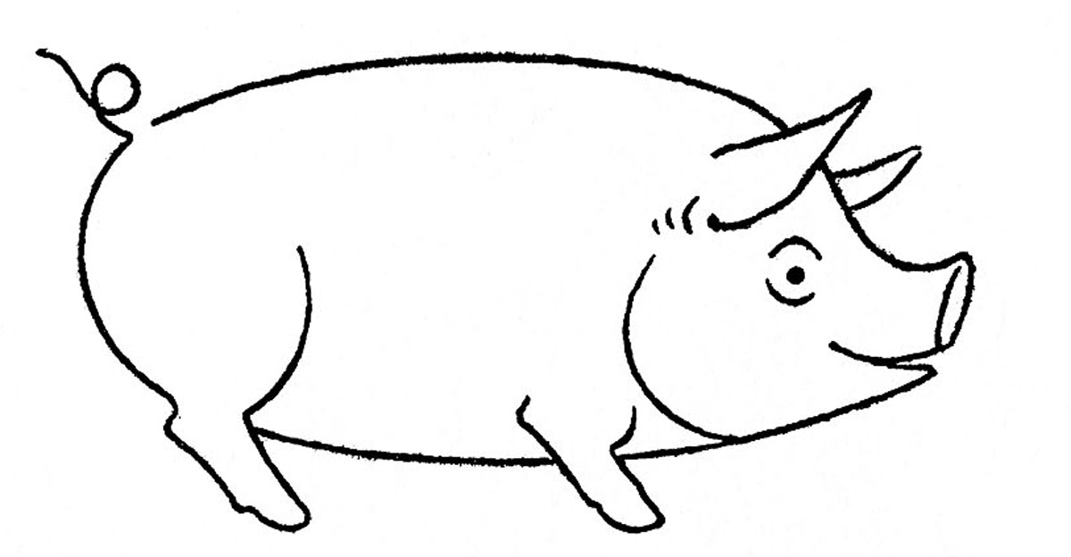 Simple Line Drawing Pig : Pig images free cliparts
