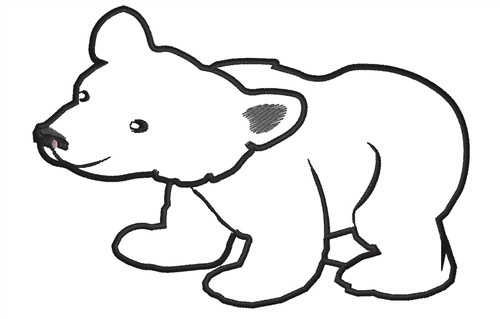 Outlines Embroidery Design: Polar Bear Outline from King Graphics