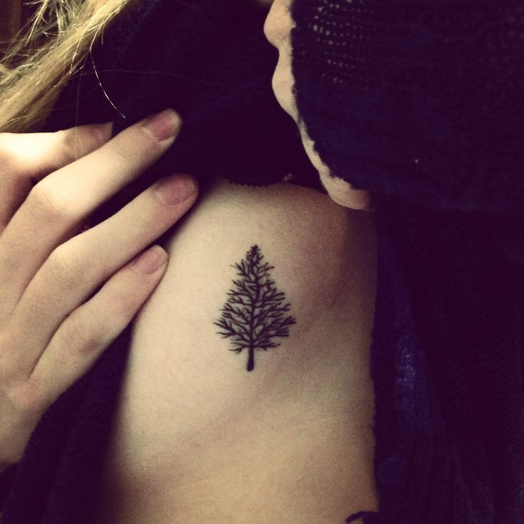 Tattoo. Black. Simple. Minimal. Tree. Ribs. Symbolic. Fresh ...