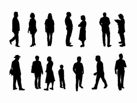 Full length people silhouette outlines PowerPoint Template