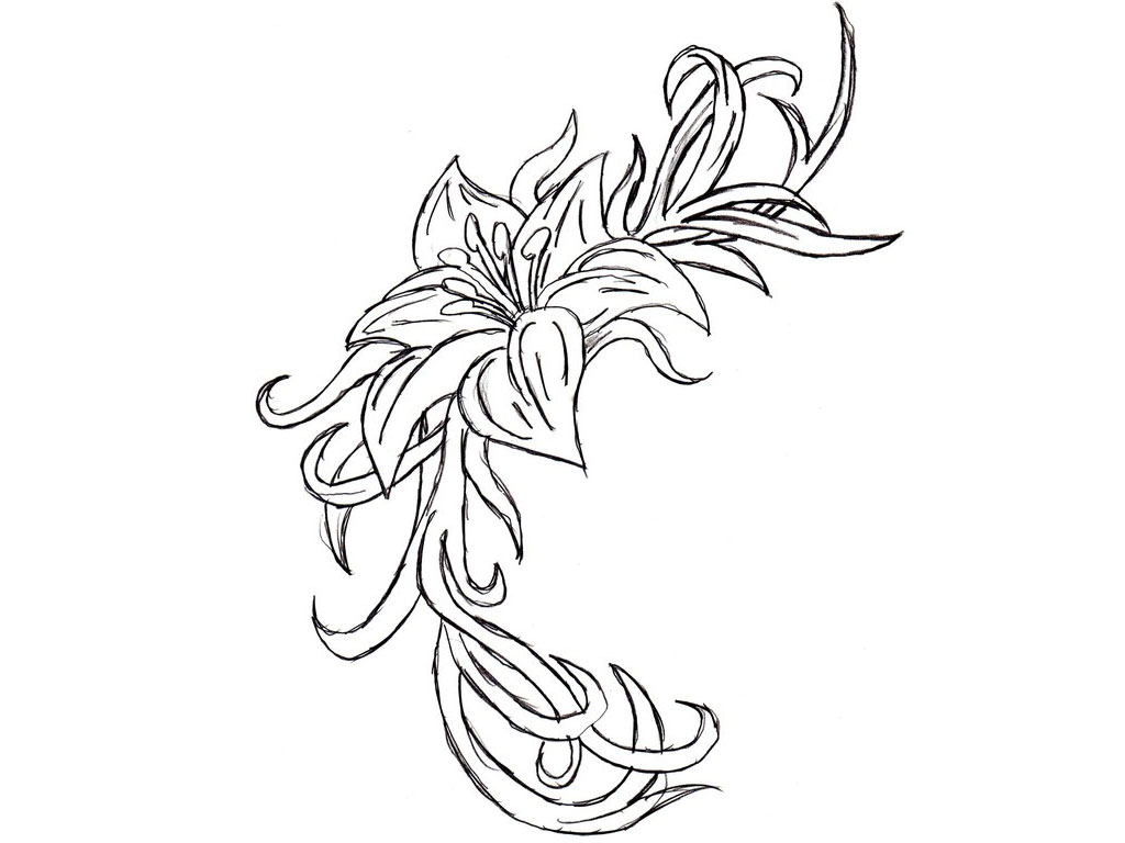 Flower Tattoos Black And White Cliparts Co