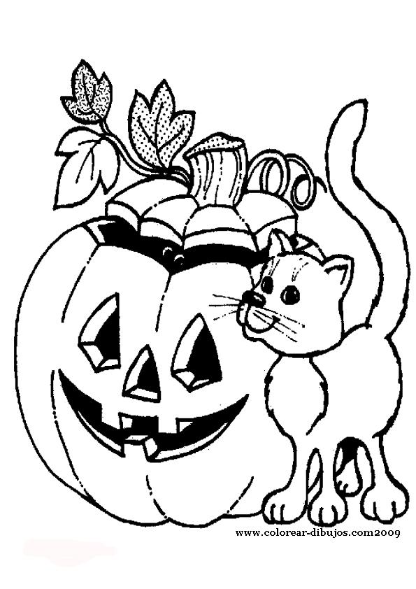 Calabazas De Halloween Para Pintar Y Colorear.Dibujos De ...
