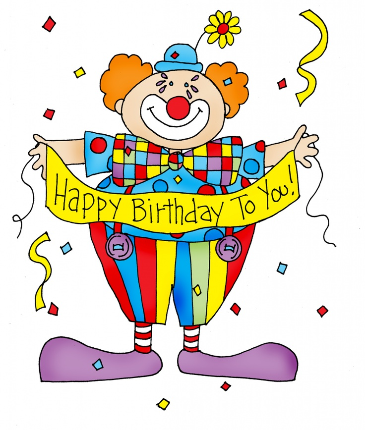 clown with birthday banner | Illustrations and clip art | Pinterest