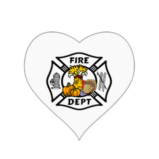 Heart Firefighter Logos Stickers