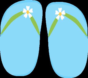 Blue Floral Flip Flops Clip Art - Blue Floral Flip Flops Image
