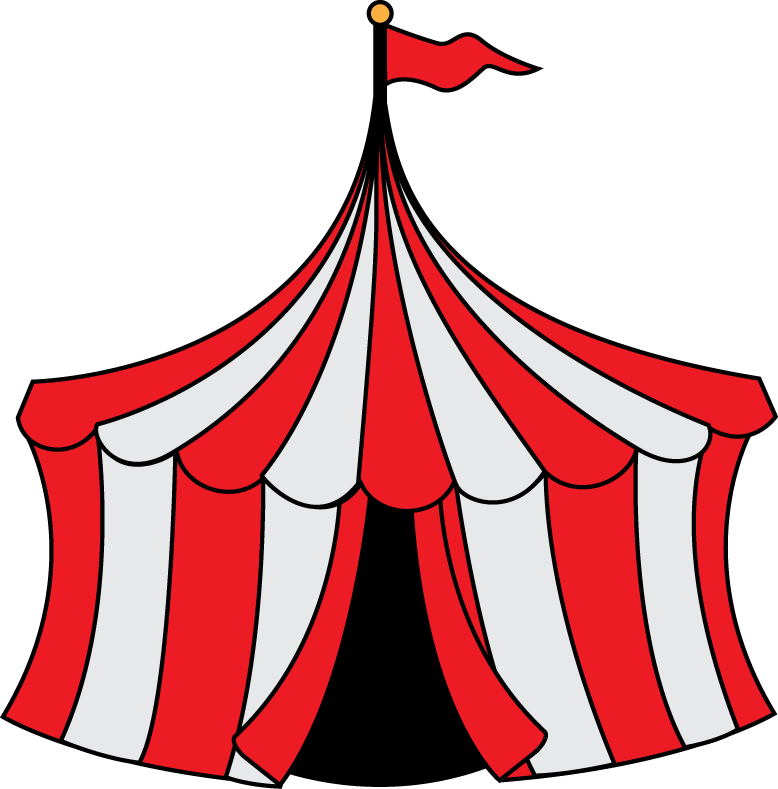 Pin Clipart Circus Clown Peeking Out Of A Big Top Tent Royalty ...