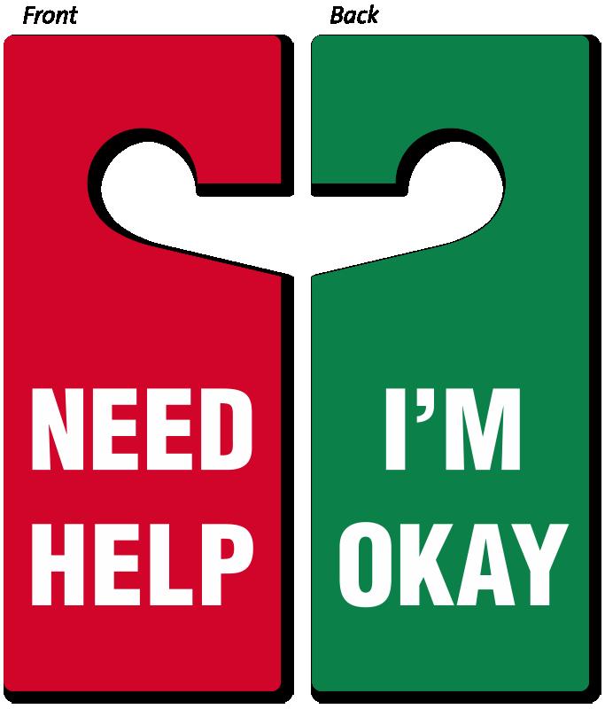 Need Help - I'm Okay Door Hanger - Double-Sided Hang Tags, SKU: TG-