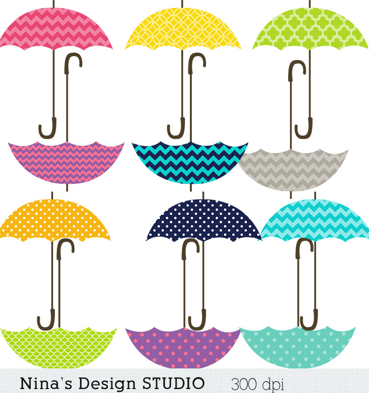 50 SALE INSTANT DOWNLOAD/ Umbrella Clipart/ by Ninasdesignstudio