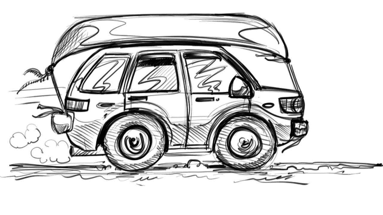 How To Draw A Cartoon Car Suv Things To Draw When You Re Bored