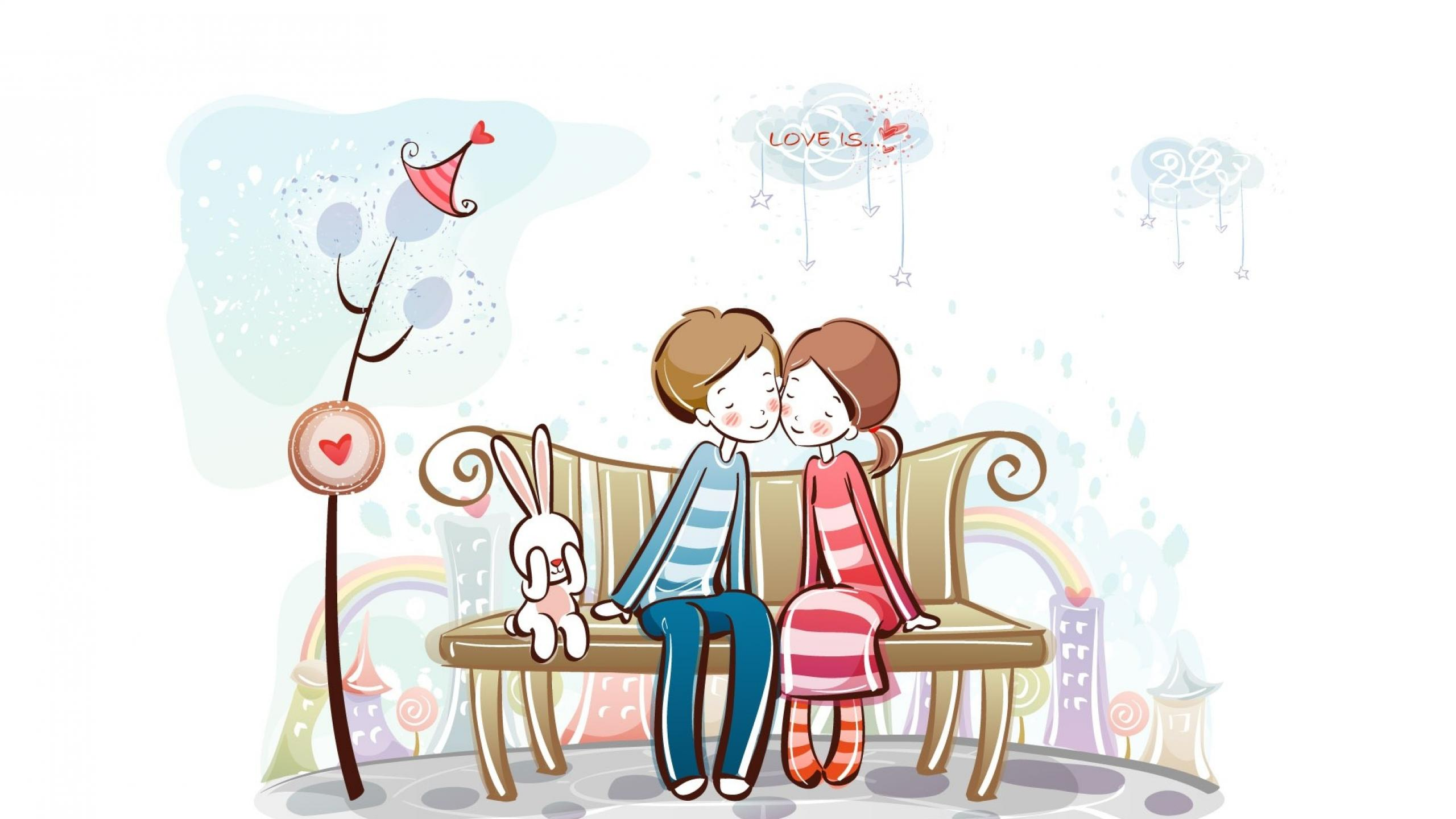 Sweet Love cartoon Wallpaper : cute cartoon Love couple Wallpaper - cliparts.co
