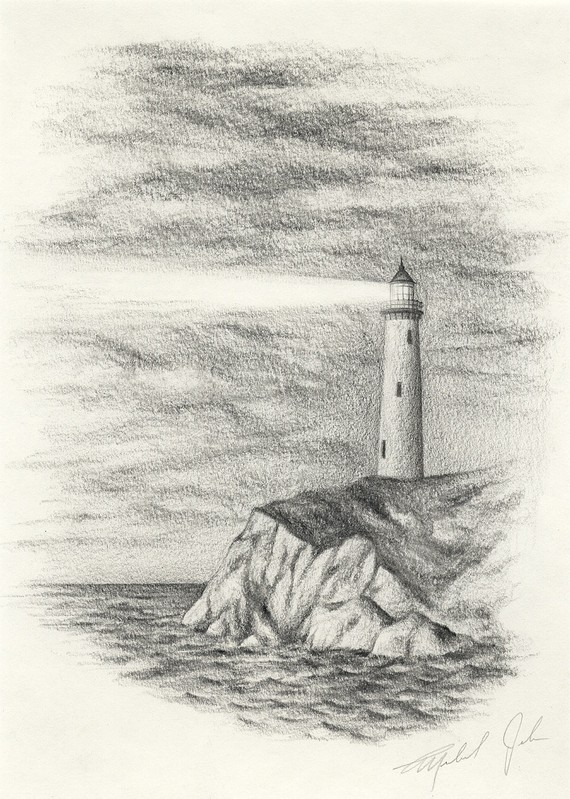 how to draw a light house
